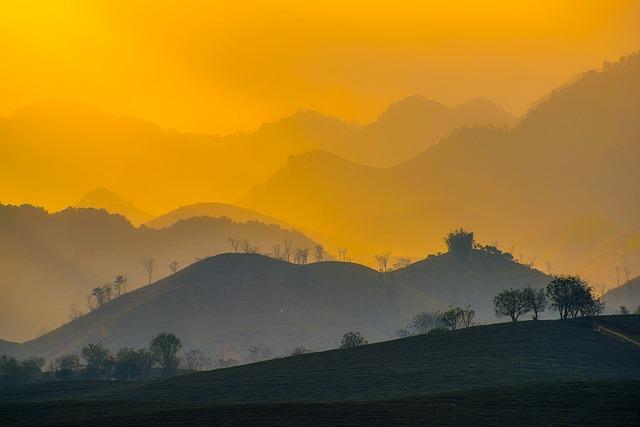 Vietnam, Sunrise, Dawn, Morning, Mountains, Landscape