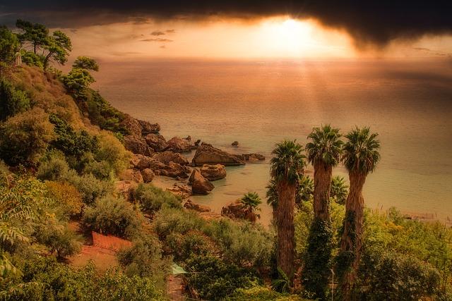 Landscape, Sea, Evening Sun, Sunset, Dramatic, Dark