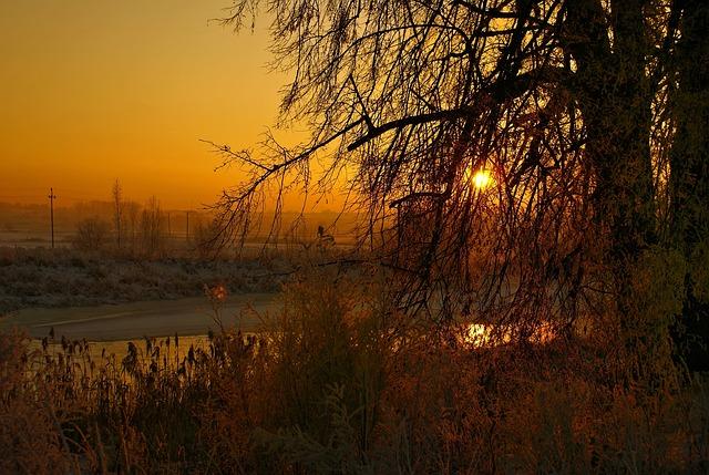 River, Winter, Sunset, Landscape, Frozen River