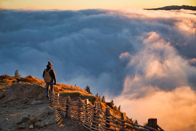 Landscape, Mountain, Summit, Clouds, Sunset, Sun, Man