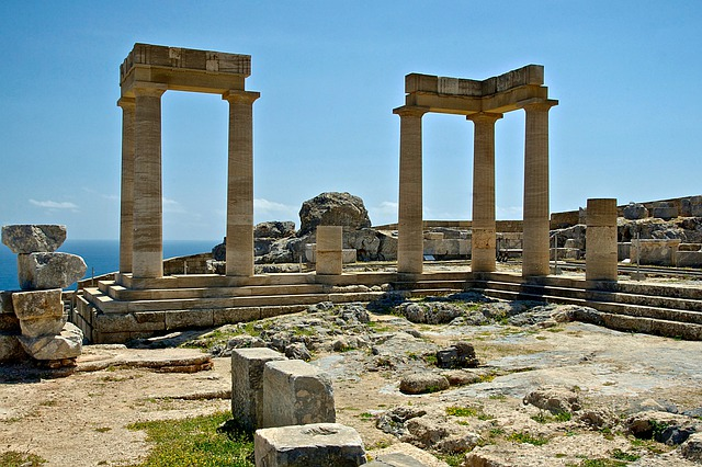 Rhodes, Greece, Temple Of Athena, Landscape, Scenic