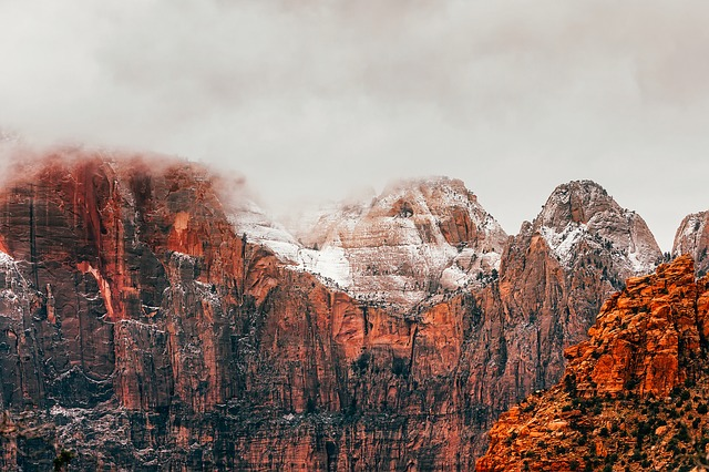 Zion National Park, Utah, Landscape, Mountains, Snow