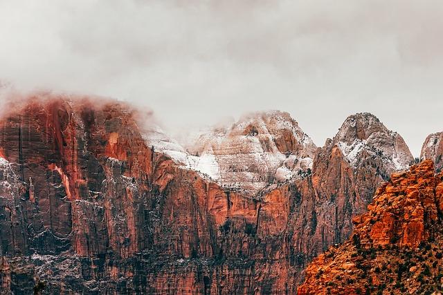 Zion National Park, Utah, Landscape, Mountains, Snow