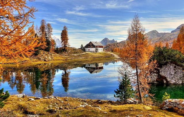 Lake, Dolomites, Landscape, Water, Nature, Sky, House