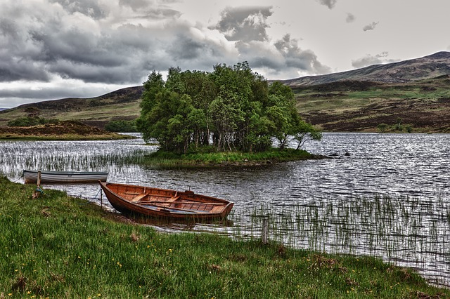 Bank, Water, Boat, Rowing Boat, Scotland, Landscape