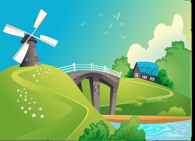 Bridge, House, Lake, Landscape, Windmill