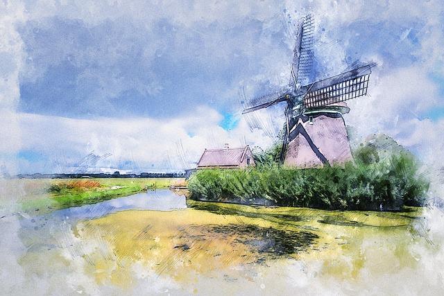 Windmill, Pond, Clouds, Sky, Landscape, Architecture