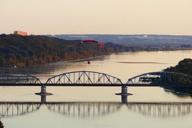 Paraglider, Landscape, River, Wisla, Bridge