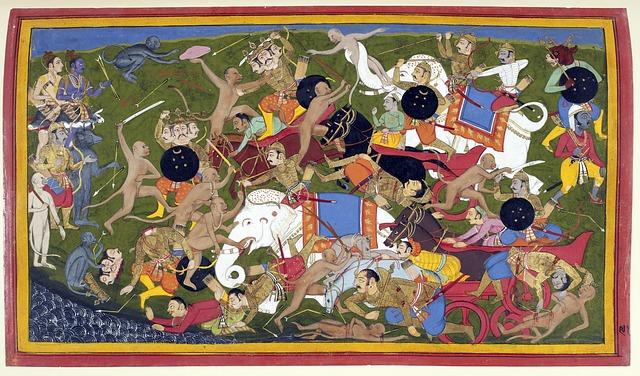Fight, Battle, Lanka, Ramayana, Udaipur, 17th Century