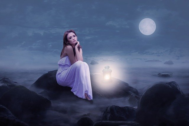 Woman, Beauty, Sit, Rock, Lantern, Light, Moonlight