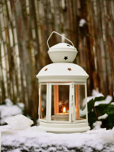 Lantern, Light, Snow, Winter, Christmas