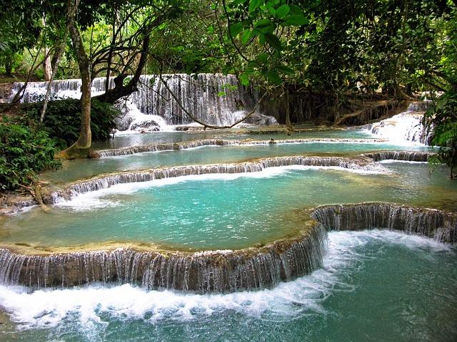 Laos, Luang Prabang, Waterfalls, Tad Kuang Xi