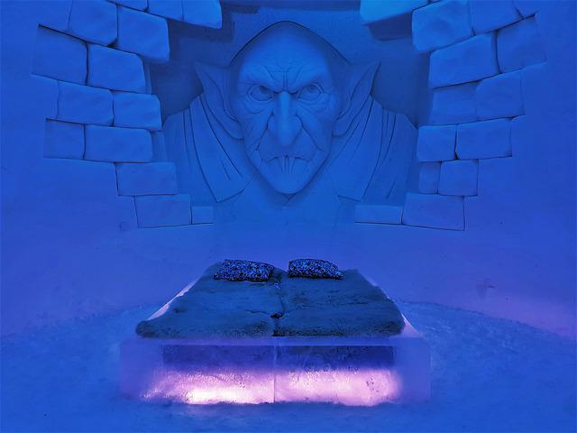 Lapland, Ice, Bedroom, Bed, Room, Hotel, Icy, Blue