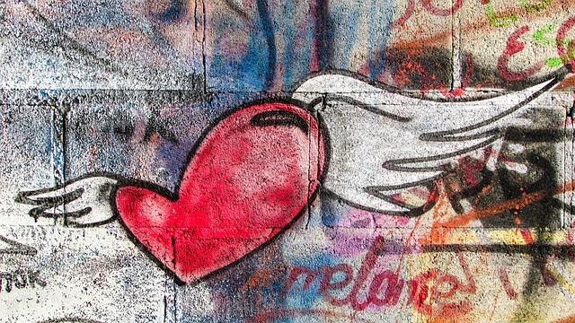 Heart, Flying, Love, Romance, Graffiti, Wall, Larnaca