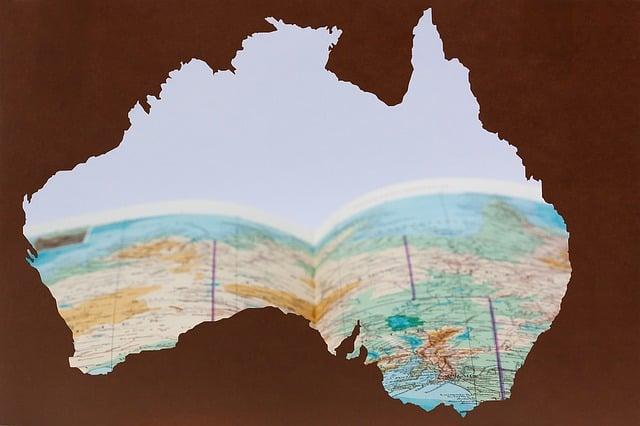 Australia, Silhouette, Laser Cut, Brown, Continent