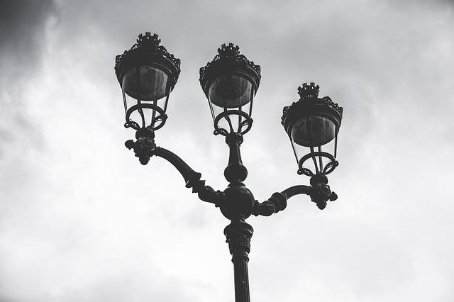 Latern, Dramatic, Sky, Clouds, City, Black And White