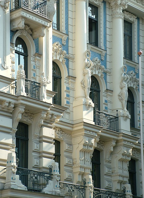 Latvia, Riga, Art Nouveau, Building