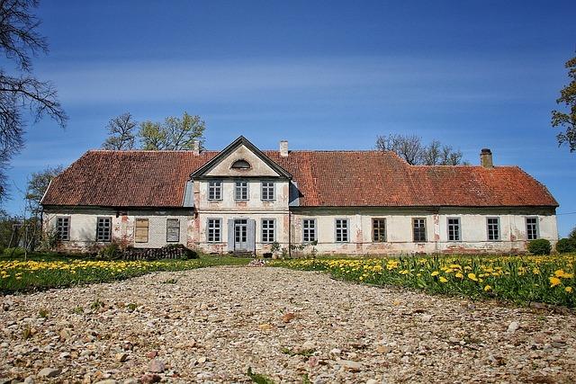 House, Old, Dandelions, Countryside, Sky, Blue, Latvia