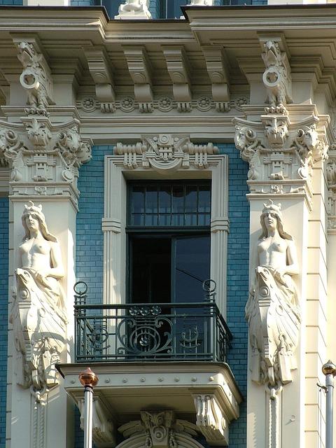 Latvia, Riga, Art Nouveau, Building