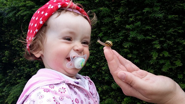 Baby, Small Child, Laugh, Joy, Snail, Pacifier