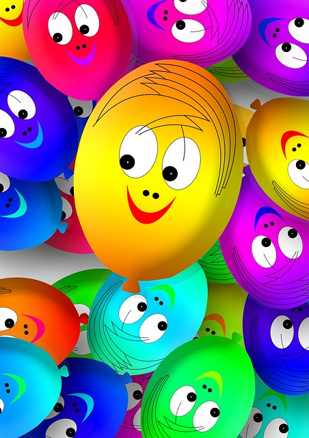 Faces, Ballons, Balloons, Smilie, Smile, Laugh, Joy