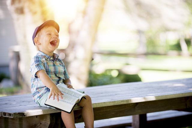Boy, Laughing, Reading, Kid, Child, People, Laugh