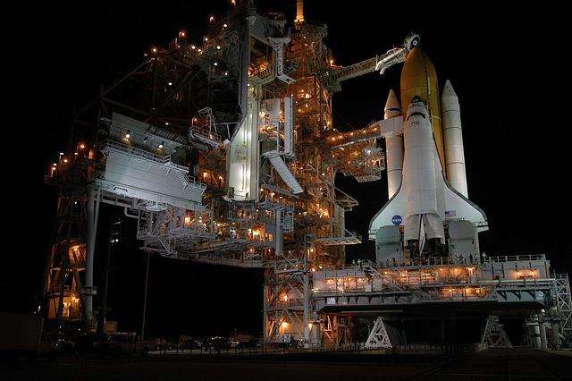 Launch Pad, Rocket Launch, Night, Space Shuttle