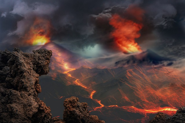 Landscape, Volcanoes, Eruption, Fantasy, Lava, Smoke