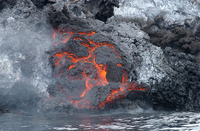 Yemeni, Lava, Hot, Steam, Fire, Scalding, Sea, Ocean