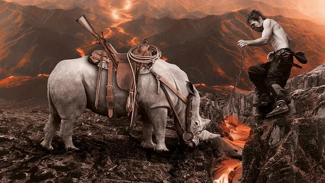 Volcano, Lava, Embers, Nature, Mystical, Rhino, Man