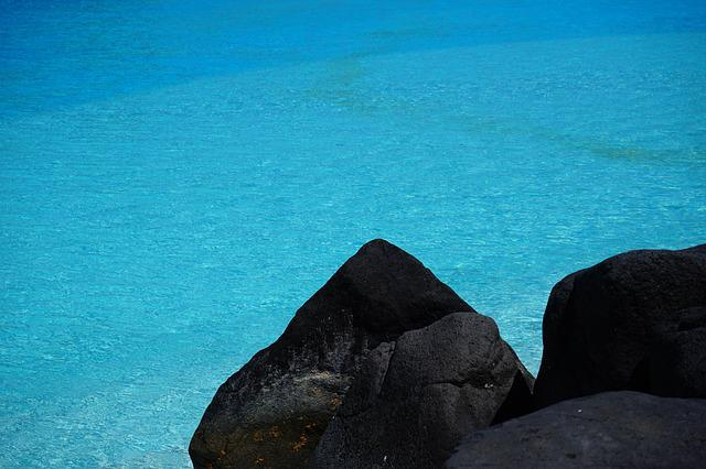 Water, Clear, Blue, Bright, Stone, Lava Stone, Contrast