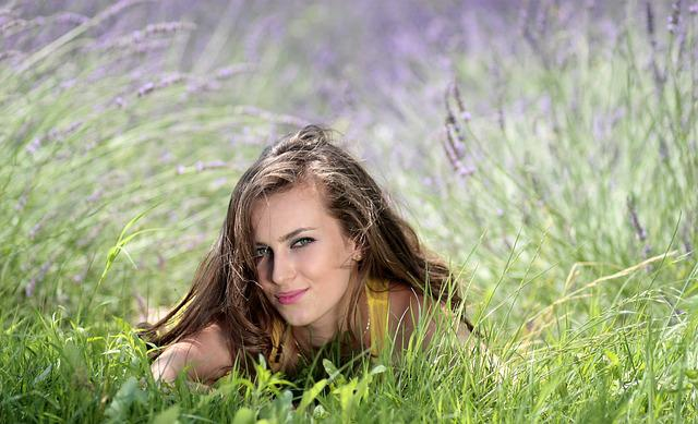 Girl, Lavender, Flowers, Mov, Beauty, Nature