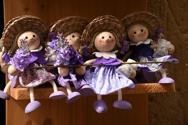 Wood Dolls, Straw Hat, Lavender