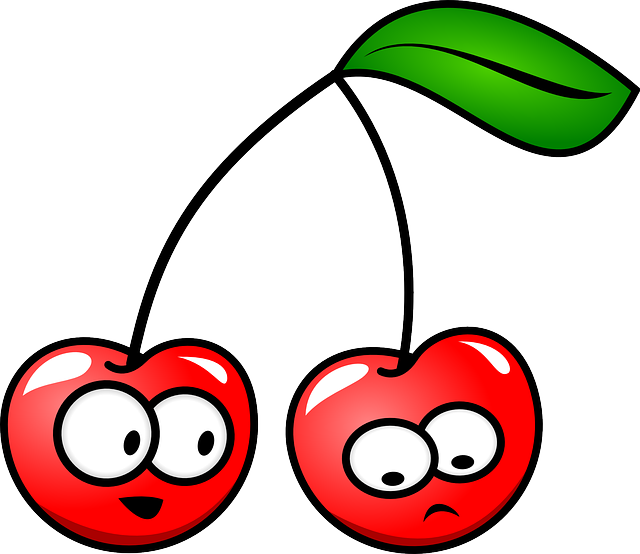 Cherry, Fruit, Leaf, Stem, Red, Happy, Unhappy, Faces