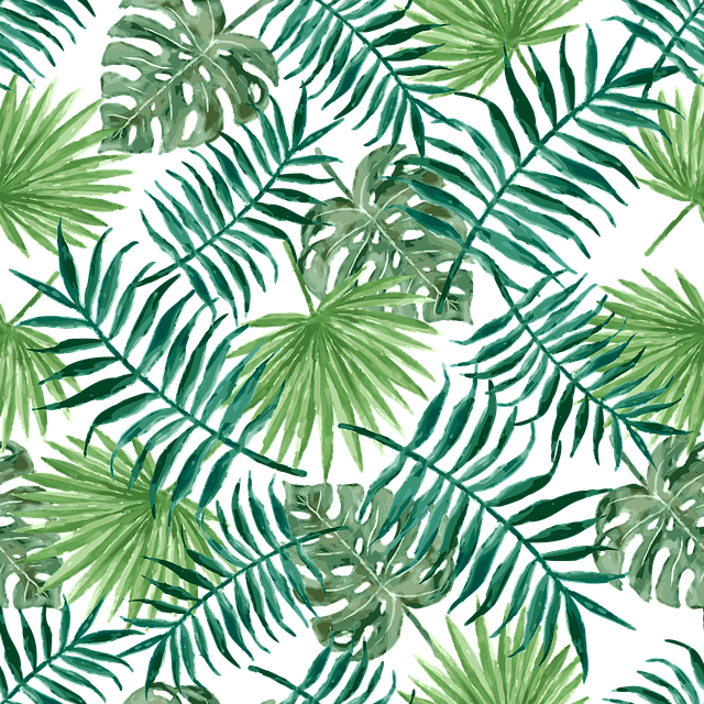 Textile, Fabric, Leaf, Plant, Palm, Green, Seamless