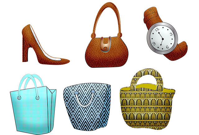 Shopping Bags, Purse, High Heeled Shoes, Watch, Leather