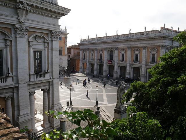 Capitoline Hill, Square, Rome, Classic, Mosaic, Leave