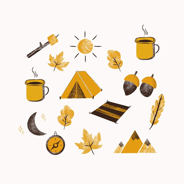 Tent, Leaves, Foliage, Compass, Mountains, Camping