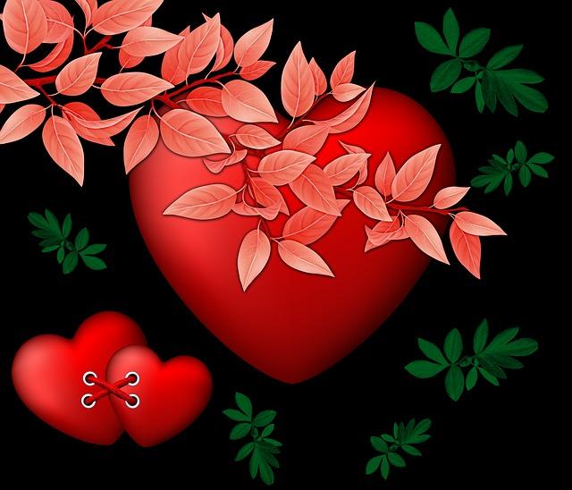 Heart, Hearts, Black Background, Design, Leaves