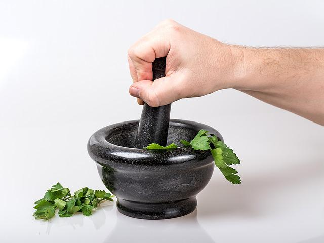 Mortar, Crushed, Hand, Bowl, Container, Leaves, Herb