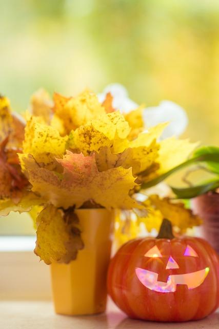 Halloween, Pumpkin, Leaves, Bouquet, Yellow, Orange
