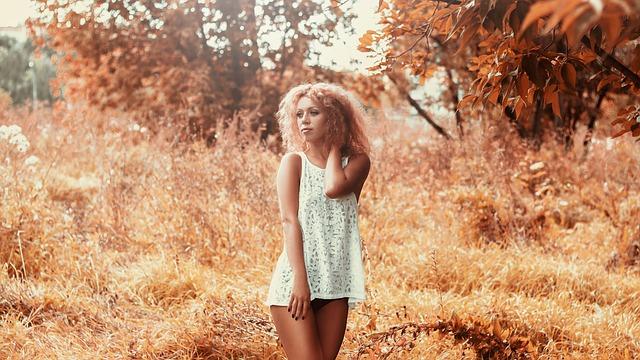 Girl In A Short Dress, On The Field, Legs, Linen