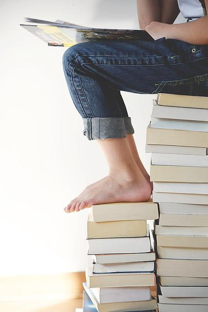Books, Feet, Legs, Person, Reading
