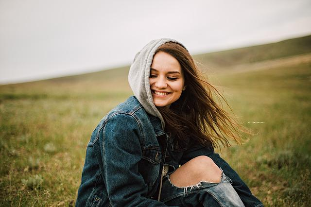 Denim, Grass, Happy, Model, Person, Woman, Leisure