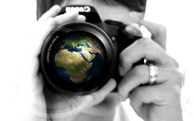 Woman, Camera, Hand, Lens, Earth, Globe, Europe, Africa