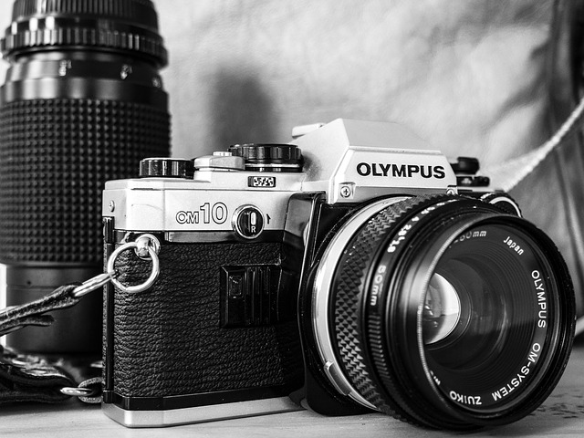 Black And White, Camera, Film, Lens, Old, Olympus