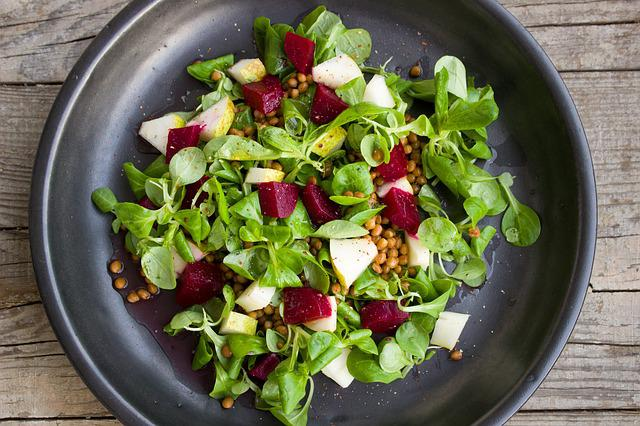 Salad, Lenses, Pear, Beets, Vegetarian, Vegan, Colorful