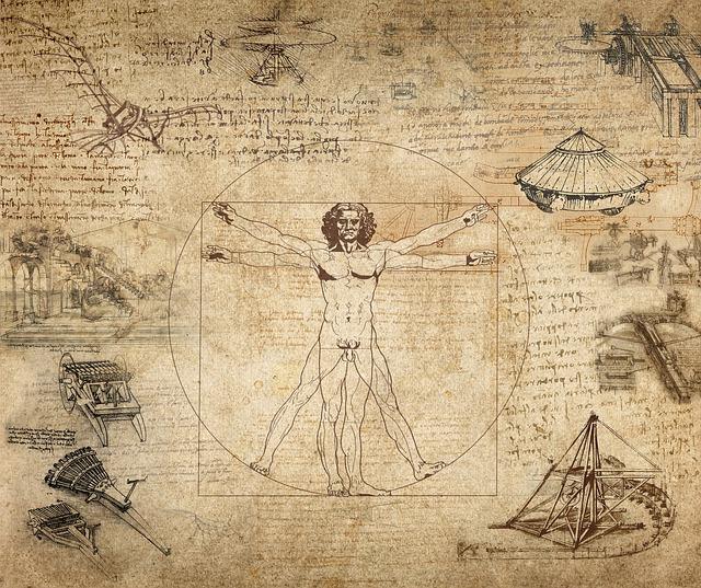 Collage, Leonard Da Vinci, Vitruvian Man, Desktop, Old