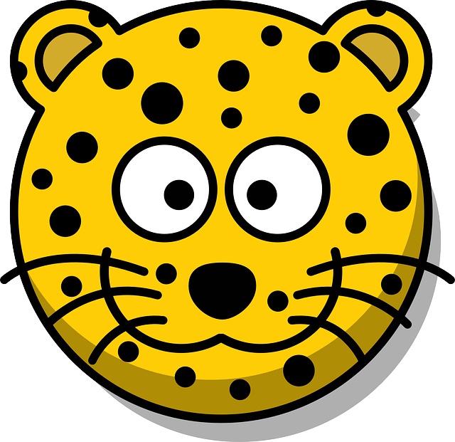Leopard, Head, Grin, Cute, Cartoon, Yellow, Whiskers