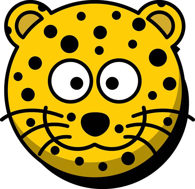 Leopard, Head, Grin, Cute, Cartoon, Yellow, Whiskers